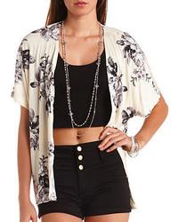 White and Black Floral Kimono