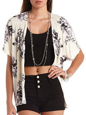 Charlotte Russe Knit Floral Print Kimono Cardigan | Where to buy ...