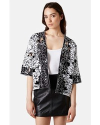 Topshop Cutout Embroidered Kimono Jacket