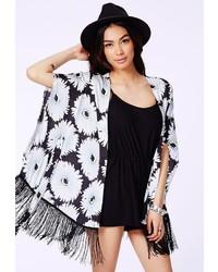 Missguided Brenka Tasselled Kimono In Daisy Print