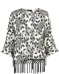River Island White Floral Embroidered Fringed Kimono