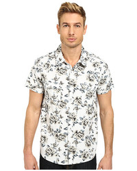 White and Black Floral Short Sleeve Shirt