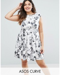 Closet plus skater dress in rose print medium 3705427
