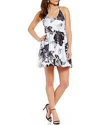 Midnight doll floral print x back skater party dress medium 3705425