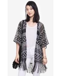 Express Fringe Hem Printed Tunic Kimono