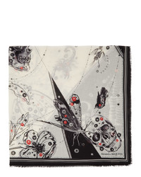 Alexander McQueen Off White And Black Cosmos Shawl