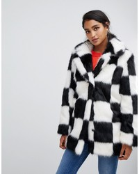 ASOS DESIGN Checkerboard Faux Fur Coat