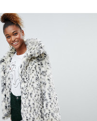 Monki Faux Fur Leopard Print Jacket In Black And White