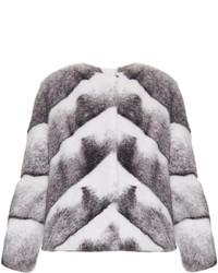 Lilly E Violetta Sarah Chevron Collarless Mink Fur Jacket