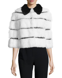 RED Valentino Half Sleeve Rabbit Fur Jacket W Ribbon Insets