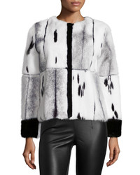 Oscar de la Renta Mixed Media Mink Fur Jacket Blackwhite