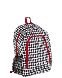 Jenzys cute girls black and white houndstooth print canvas school book bag backpack with red trim medium 469458