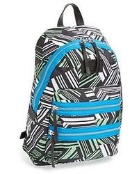 White and Black Geometric Canvas Backpack