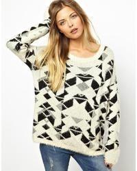 Geo print fluffly knit top medium 38052