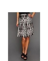 White and Black Geometric Full Skirt