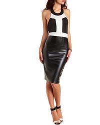 Charlotte Russe Faux Leather Scuba Halter Dress