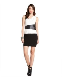 Ivy & Blu Ivy Blu Black Colorblock Stretch Faux Leather Detailed Sleeveless Dress