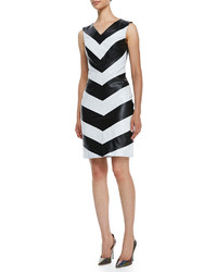 Vakko Sleeveless Leather Chevron Front Dress