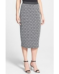 White and Black Geometric Midi Skirt