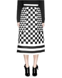 Checkerboard stripe crepe couture midi skirt medium 353316