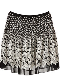 White and Black Geometric Mini Skirt