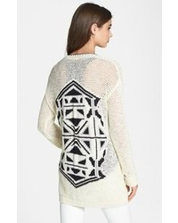 White and Black Geometric Open Cardigan