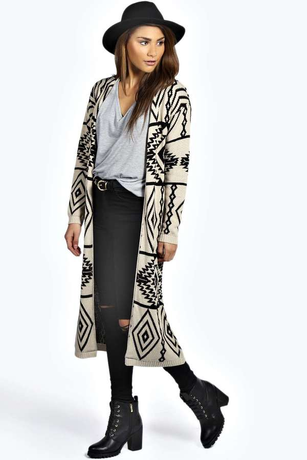 Boohoo Alice Long Aztec Cardigan | Where to buy & how to wear
