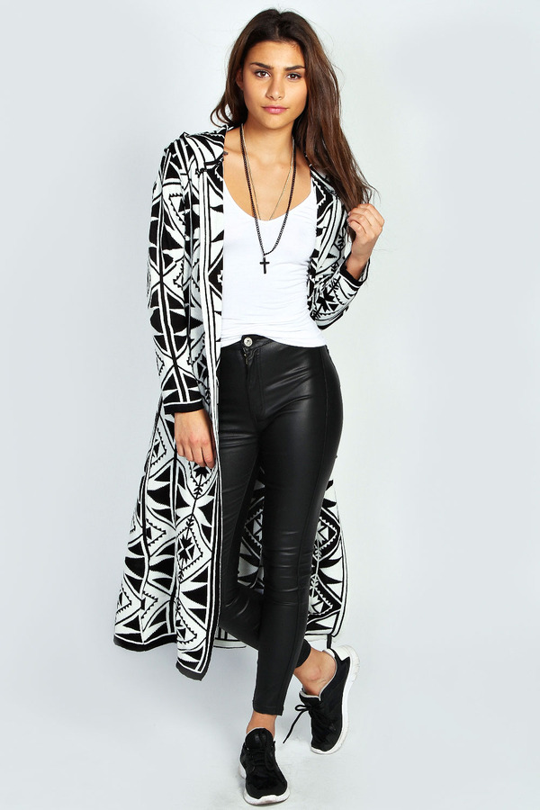 Boohoo Ines Longline Hooded Aztec Cardigan | Where to buy & how to ...