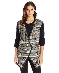 RD Style Geo Printed Sweater Cardigan With Leather Trim