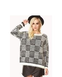 White and Black Geometric Oversized Sweater