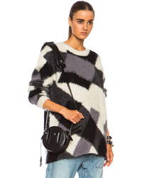 McQ by Alexander McQueen Mcq Alexander Mcqueen Crew Neck Oversized Mohair Blend Sweater In Off White Black