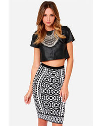 Design Intervention Black And White Print Pencil Skirt