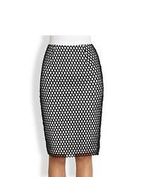 Elizabeth and james heyden mesh overlay pencil skirt blackwhite medium 94944