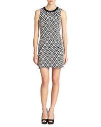 White and Black Geometric Sheath Dress