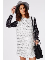 Contrast grid print shirt dress white black medium 208432