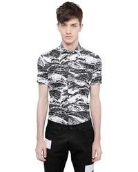 White and Black Geometric Short Sleeve Shirt