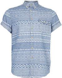 Topman White Aztec Print Short Sleeve Blue Denim Shirt