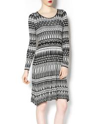 White and Black Geometric Sweater Dress