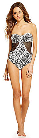 Gianni Bini Black Tribal Print Mesh Side Bandeau One Piece Swimsuit