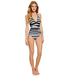 Ivanka Trump Tribal Stripe Shirred Halter Maillot