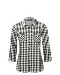 M co gingham checked monochrome cotton shirt black and white 12 medium 65470