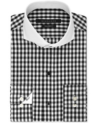 Sean John Black And White Gingham Dress Shirt