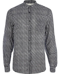 River Island Black And White Gingham Grandad Shirt