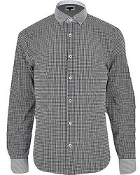 River Island Black Gingham Contrast Collar Shirt