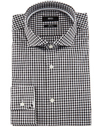 Boss jery slim fit gingham dress shirt blackwhite medium 417130