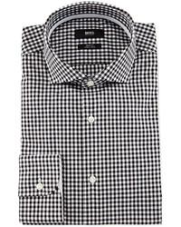 Boss jery slim fit gingham dress shirt blackwhite medium 417130