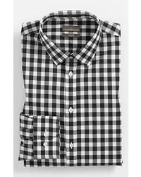 Calibrate Slim Fit Non Iron Gingham Dress Shirt Black 17 3233