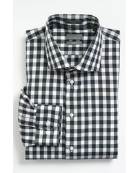 Calibrate Trim Fit Non Iron Gingham Dress Shirt Black 155 3435