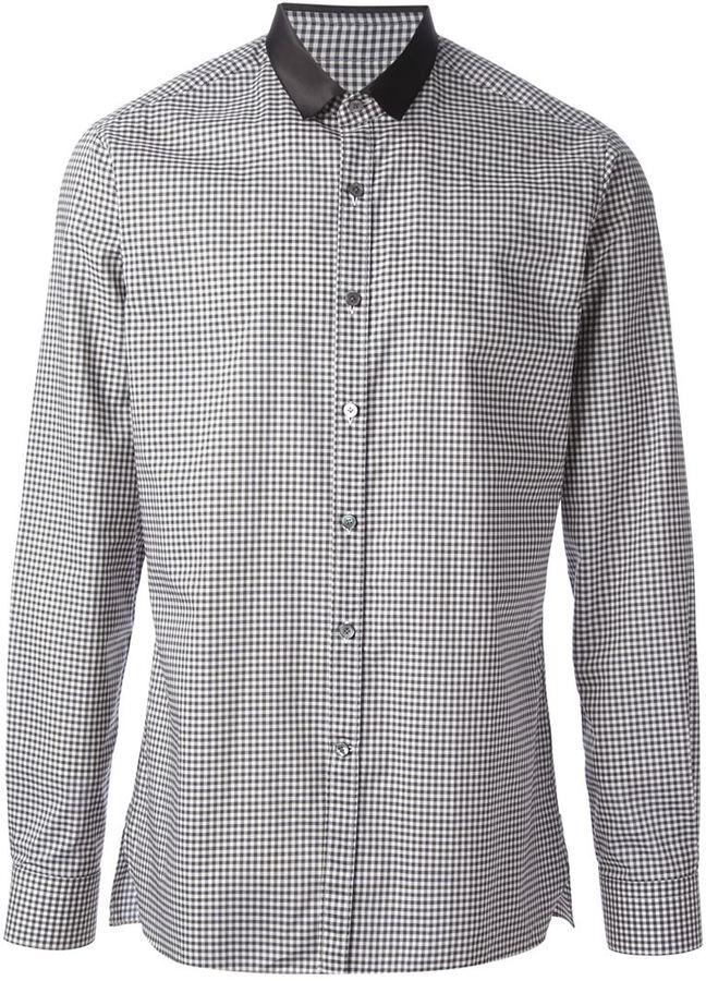 Lanvin gingham check shirt where to buy how to wear for Black and white check mens shirt