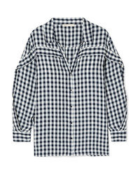 Maje Ruffled Gingham Canvas Shirt